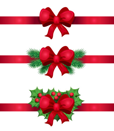 Christmas red ribbon and bow decoration on white background. Vector design. Cartoon style