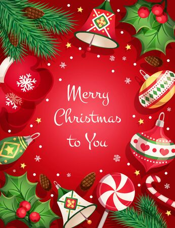 Cartolina di buon Natale con elementi decorativi e oggetti