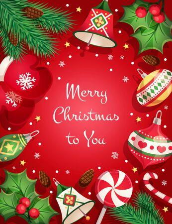 Tarjeta de feliz navidad con elementos decorativos y objetos.