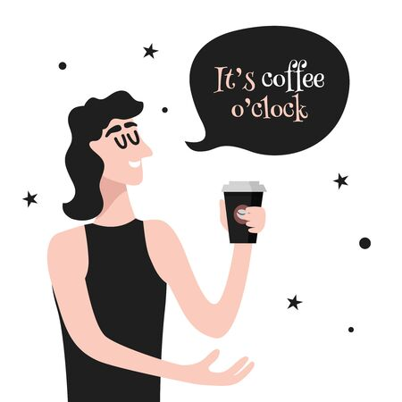 It's Coffee O'clock. Woman Holds Coffee Cup. Vector art for banner, poster, card