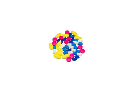 antibiotic pink pill: Medicines colorful on white background