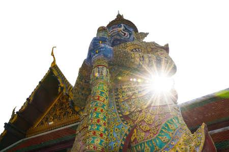 Giant of Wat Arun Ratchawararam and rays of sunshine 0025 Stock Photo