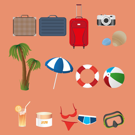 swimsuite: Beach set. Suitecase, bag, camera, shell, palm, umbrella, ball, cocktail, cream, swimsuite and underwater mask