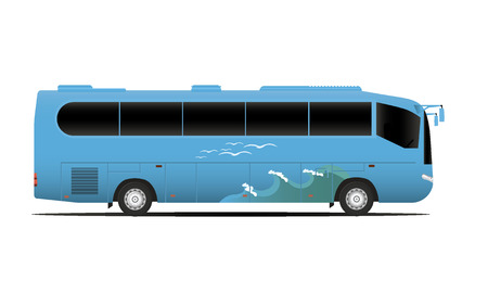 touristic: Coach touristic blue bus with abstract print