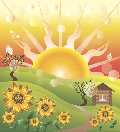 The enchanting childrens illustration with a house sun sunflowers trees and meadow during sunset