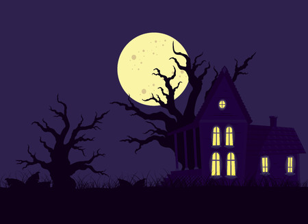 bush babies: Fairytale night landscape with dark purple witchs house, the trees and the moon in the sky Illustration