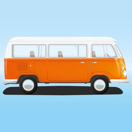 sixties: Vector, orange, white, hippie van from sixties on a blue background Illustration