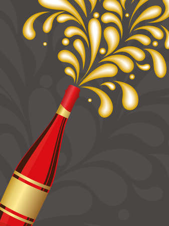 creative artwork background with champagne explosion vector for celebration Vector