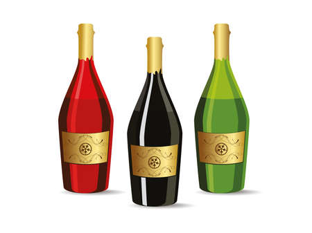 white background with set of three champagne bottles Vector
