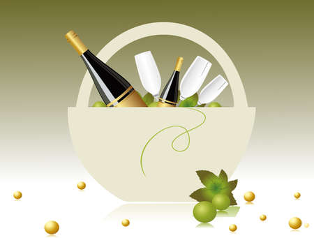 glases: abstarct green background with grapesvine in Champagne basket Illustration