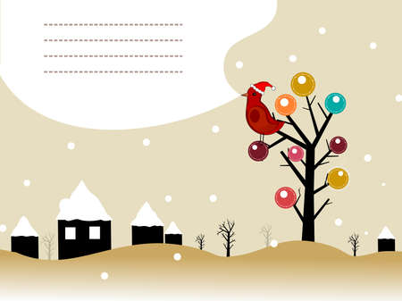 landscape background with bird sitting on artistic tree, house cover with snow Vector