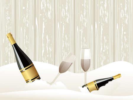 Abstarct fondo de hielo con una botella de champ�n, vasos vector concepto de eventos Foto de archivo - 11785674