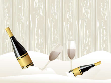 glases: abstarct ice background with Champagne bottle, glasses concept vector for events