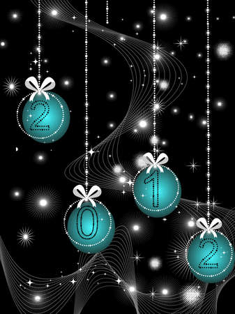Abstract black twinkle star, wave background  with hanging bobs for 2012 new year celebration