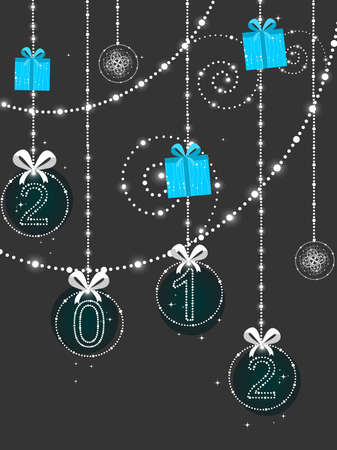vector decorative hanging bobs, gifts elements background vector for new year Illustration