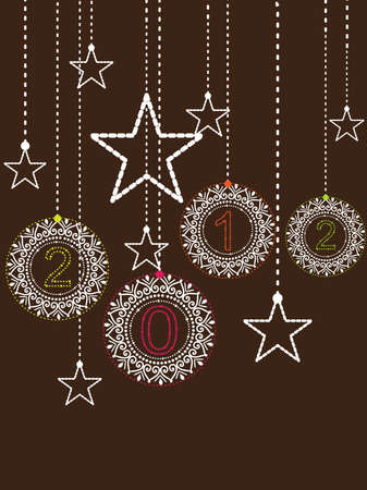 Happy New Year Background With Stars And decorative 2012 elements Stock Vector - 11785670