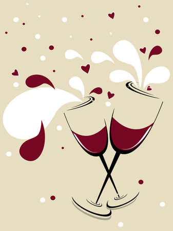 12 o'clock: holiday vector background with two glasses of wine, red hearts