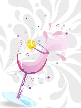 12 o'clock: creative artowk pattern background with artistic cocktail glass vector Illustration