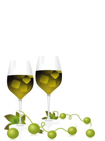 champange glass with grapes vines on white background Vector