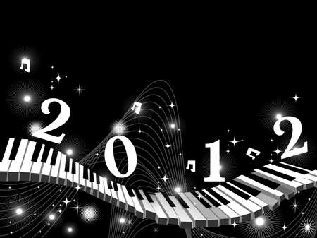 abstract black background with wave, twinkle stars, musical notes  & text 2012 on keyboard, or musical theme vector for new year