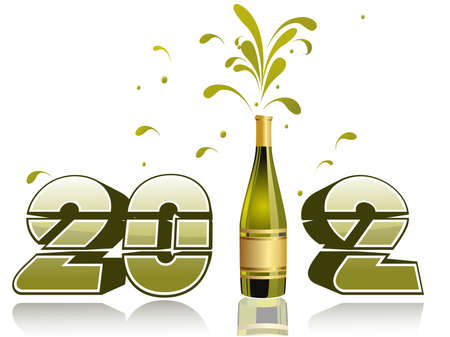 vector champagne bottle explosion 2012 Stock Vector - 11785608