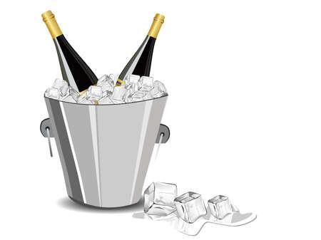 champagne botella, cubo de hielo cubo de celebración del Año Nuevo
