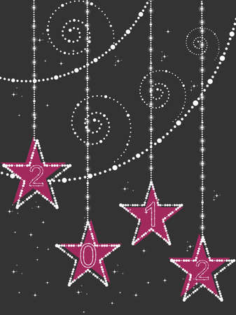 abstract twinkle star, artwork background with decorated hanging star for happy new year 2012 Vector