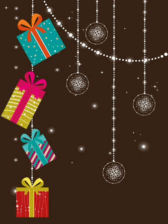 abstract twinkle star, hanging decorative artwork concept greeting card for new year Vector