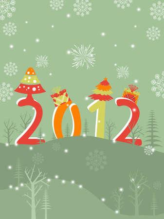 snoflake: snoflake, firework background with stylish text Illustration