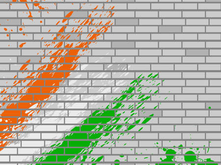 National flag colors theme in orange, white and green on  gray wall background for Rebublic Day. Vector