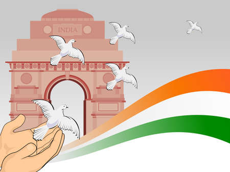 republic day: A scene of republic day with flying pigeon in front of India get and National Flag for Republic Day.