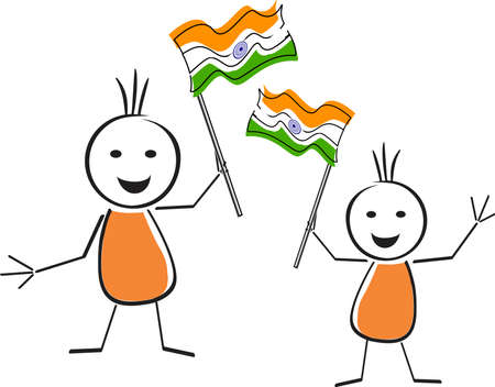 constitution day: A card of republic day with two cute character holding the national flag in their hands and space for your text for Republic Day. Illustration
