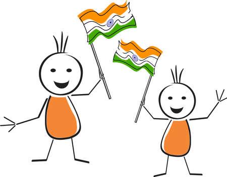 democracia: Una tarjeta del Día de la República con dos simpático personaje que sostiene la bandera nacional en sus manos y el espacio para el texto para el Día de la República.