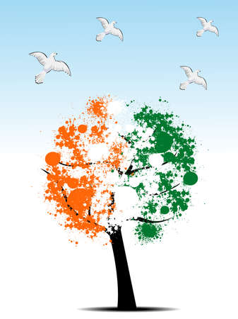 abstract, Tree leafs in national flag colors in orange, white and green with flying piegons for Republic Day Vector