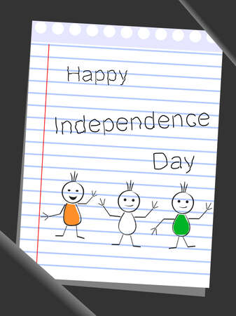Tree doodles wearing flag color theme with text Happy Independence Day on note book paper background. Vector