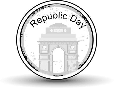 illustration of a rubber stamp showing India Gate  with text Republic day in black color for republic day. Vector