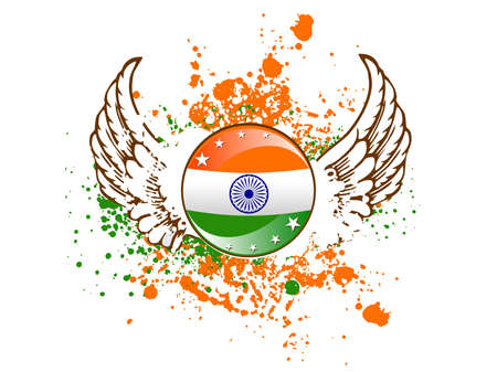 asoka: A sign of Indian flag on colorful grunge showing freedom with wings and stars for Republic and Independence Day.