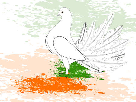 constitution: A greeting card with draw a flag with paint, piegon and copy space for Republic and Independence Day.