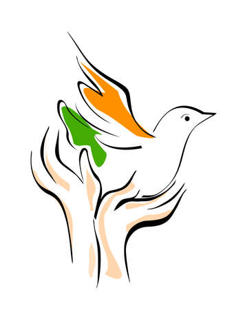 An illustration showing freedom, pigeon released from hands on isolated background for Republic and Independence Day.