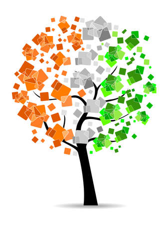 constitution: A freedom tree having leafs in an Indian flag colors on white background for Republic and Independence Day. Illustration