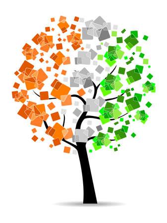 Un árbol de la libertad que tiene hojas en colores de la bandera india en el fondo blanco de la República y el Día de la Independencia. Ilustración de vector