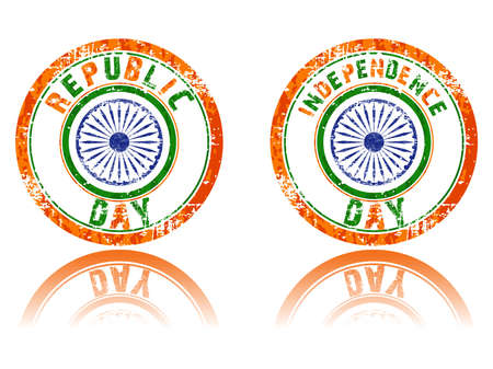 An illustration of rubber stamps in orange, white &amp, green color  having Asoka Chakra on isloated background for Republic and Independence Day. Vector
