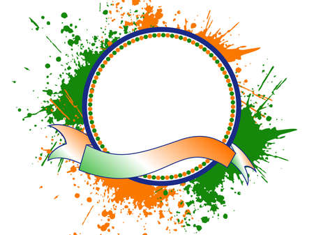 saffron: A template frame with copy space for text on Indian tri color grunge background for Independence and Republic Day.