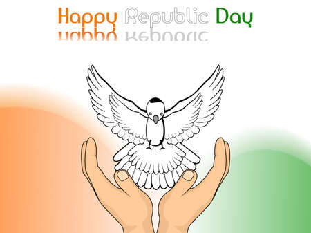 asoka: An illustration showing freedom, pigeon released from hands on colorful  background for Republic and Independence Day. Illustration