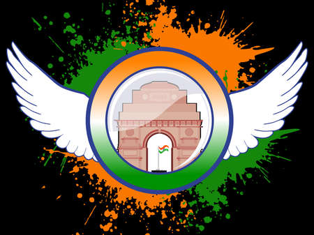 A sign of Indian emblem on colorful grunge showing freedom with wings and India Gate on black background for Republic and Independence Day. Illustration