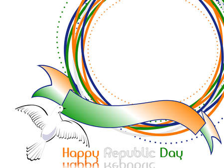 asoka: A template frame with copy space and flying pigeon for text on Indian tri color grunge background for Republic Day.