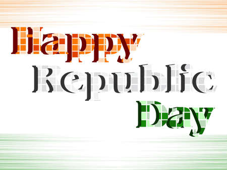asoka: An illustration of text Happy Republic Day with blocks in Indian trio color on seamless background for Republic Day.