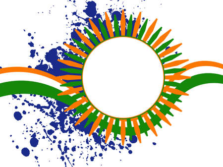 saffron: An illustration of a colorful template frame with copy space on grunge background  for Independence Day and Republic Day. Illustration