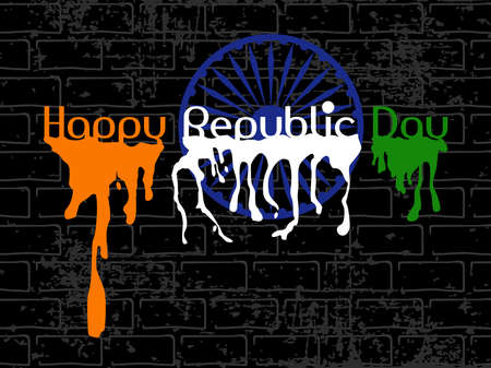 asoka: Republic Day Text with flew paint and Asoka Wheel on black wall grungy background for Republic and Independence Day.