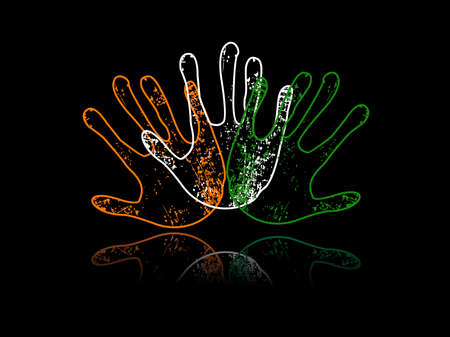 asoka: An illustration of three hands colored in an Indian National flag colors with reflection on black background for Independence Day and Republic Day.